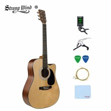 41 Inch Acoustic Folk Guitar Bundle Full Size 6 Steel String  Professional Acoustic Gitar Wood Basswood Guitarra Beginner Unisex acoustic custom guitar 41 inch full size 6 string basswood with guitar kit from us