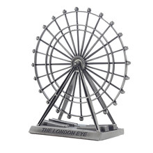 3D Metal Ornaments Ferris Wheel Model Kit Home Office Table Desk Top Ornaments Kids Girls Birthday Gift - Vintage Silver(China)