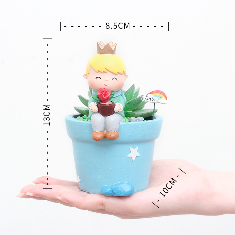 Купить с кэшбэком Roogo Cute Prince Succulent Planter Pots Resin Little Boy Flowerpot Bonsai Crafts Home Garden Yard Decor Birthday gifts
