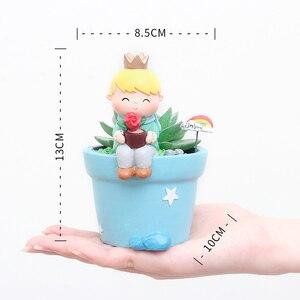 Image 5 - Roogo Cute Prince Succulent Planter Pots Resin Little Boy Flowerpot Bonsai Crafts Home Garden Yard Decor Birthday gifts