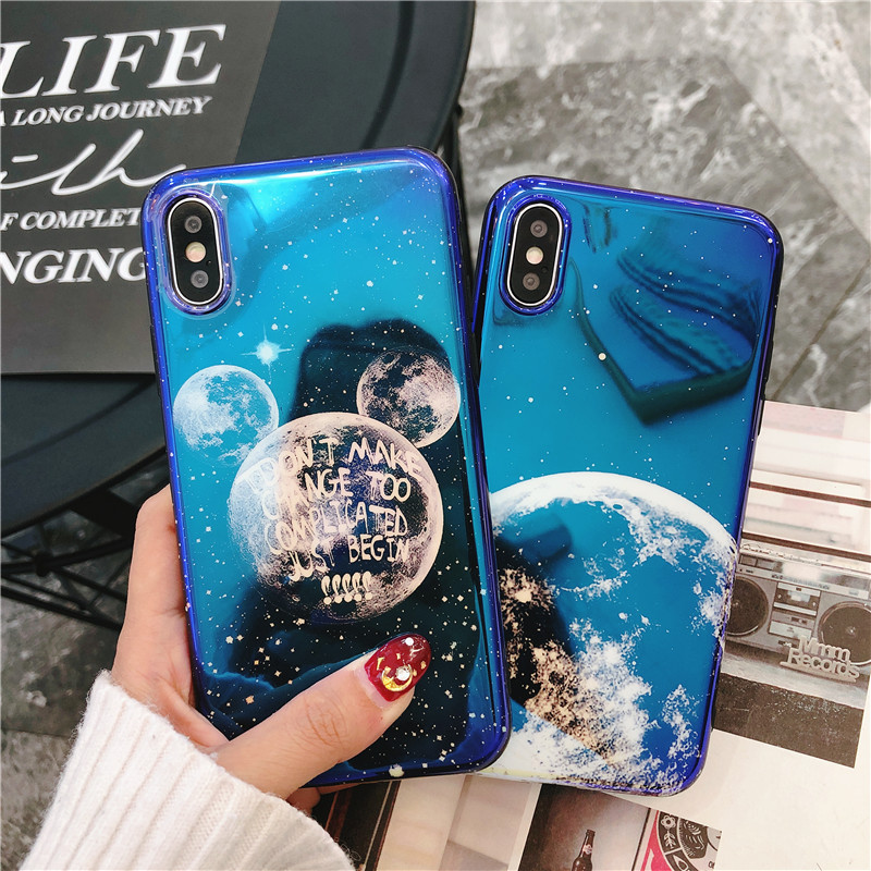 Fashion Blue Ray Light cute Mickey Moon Case For iPhone 6 6s 7 8 Plus X Luxury Cartoon Soft IMD TPU Phone Cover Capa Fundas