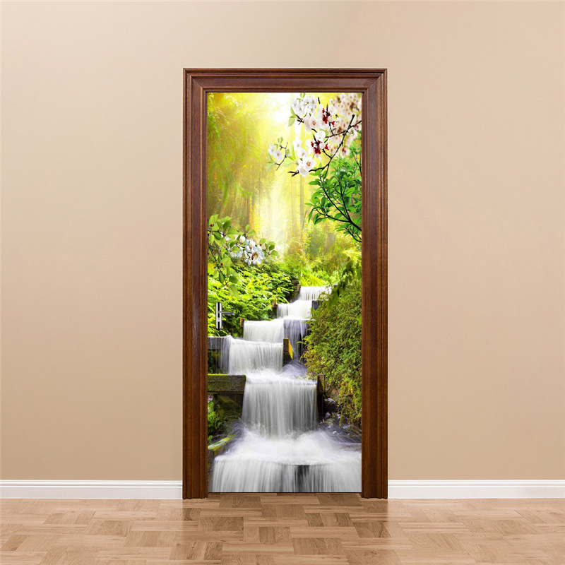 Waterfall Landscape Door Sticker Wall Papers Home Decor Modern Bedroom Living Room Decor Poster PVC Waterproof Decal Wallpaper pentium horse living room bedroom door mural wallpaper sticker pvc self adhesive waterproof wall papers home decor wall painting