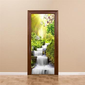 цена на Waterfall Landscape Door Sticker Wall Papers Home Decor Modern Bedroom Living Room Decor Poster PVC Waterproof Decal Wallpaper