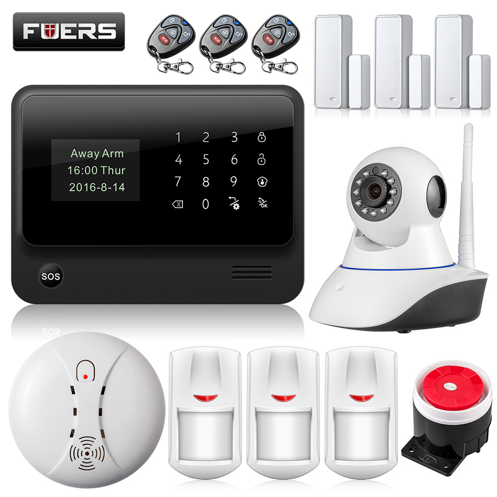 fuers russian english wifi gsm home alarm system security phone apps control russian alarm with ip camera wifi gsm alarm system G90B Russian/English/French/Spanish WiFi Alarm System Home GSM GPRS Burglar Alarm IOS Android APP Control Security Alarm System