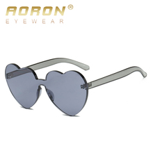 16ee3966a1 AORON Red Heart sunglasses for women 2019 trendy novelty rimless sun  glasses candy color love style fashion pink yellow eyewear-in Sunglasses  from Apparel ...