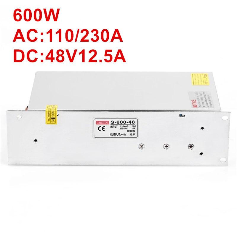 5PCS 600W 48V 12.5A AC-DC High-Power PSU 600W 100-240V 600W 48V Power Supply 48V 12.5A