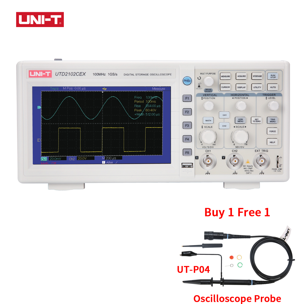 UTD2102CEX Digital Oscilloscopes Digital Osciloscopio Logic analyzer 2CH 100MHZ USB OTG Interface widescreen VS hantek 1 GIFT