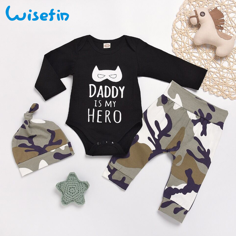Wisefin Newborn Baby Boy Clothes Set Infant Clothes Outfits Toddler Baby Clothing Baby Set Letter Bodysuit Long Sleeve+Camo Pant red minnie children suits long sleeve newborn baby girl summer clothes bodysuit tutu skirt sets infant clothing toddler outfits
