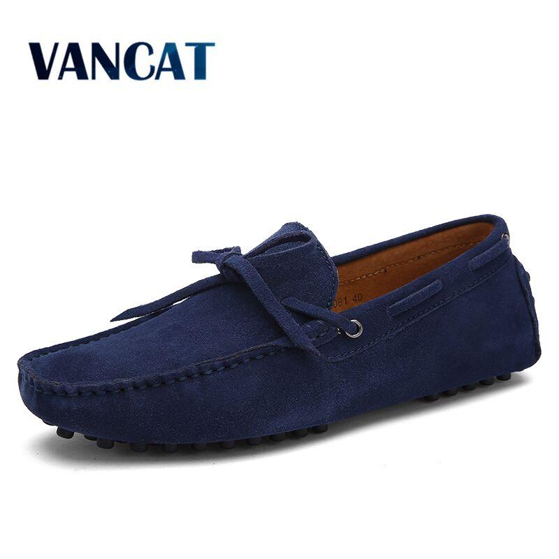 Vancat Men Casual Shoes 2019 New Big Size Fashion Men Shoes Genuine   Leather   Moccasins Slip On Men's Flats Loafers Driving Shoes
