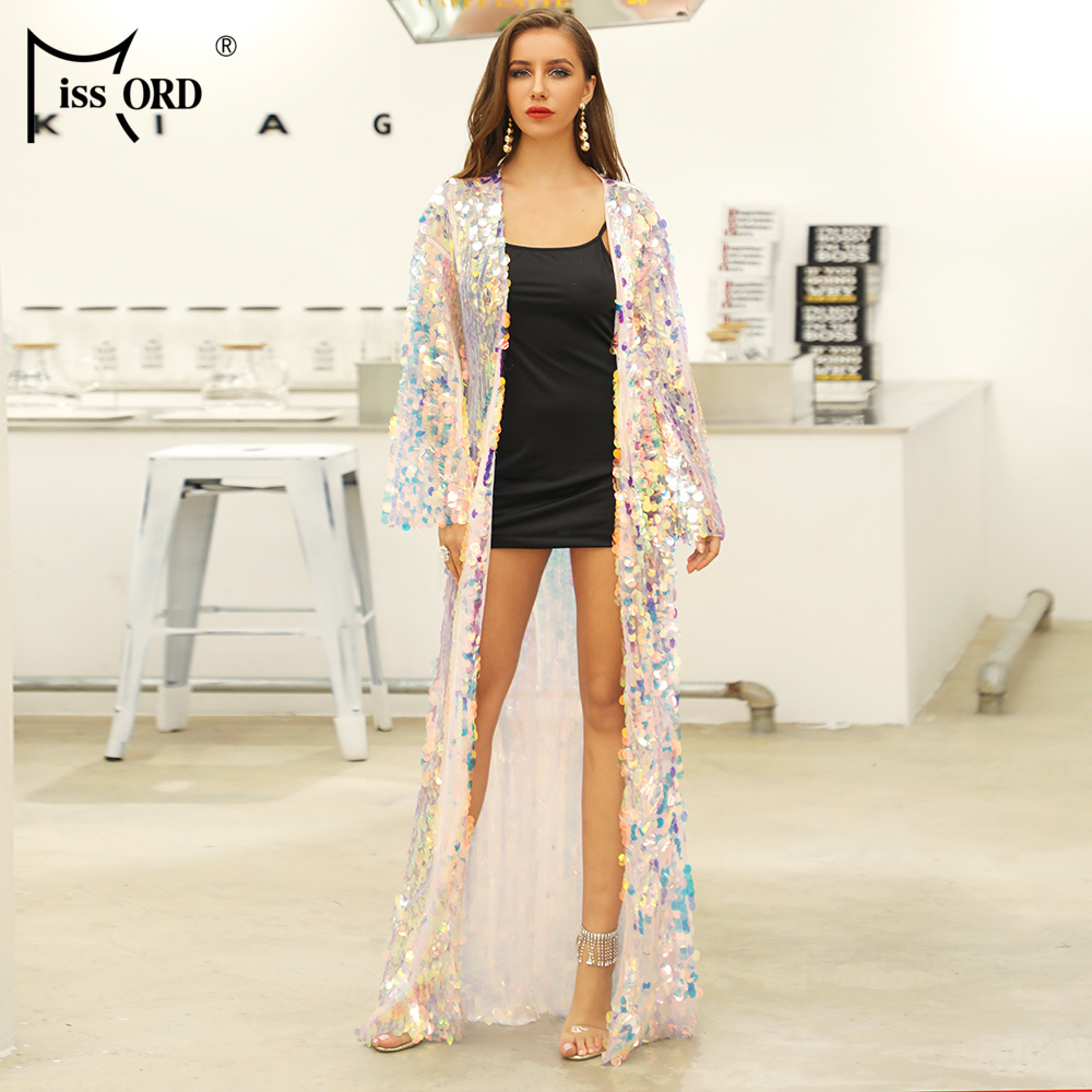 143ecee63f Missord 2019 Women Summer Sexy Multi Sequin Female Long Sleeve Maxi  Beachwear Reflective Dress FT20019