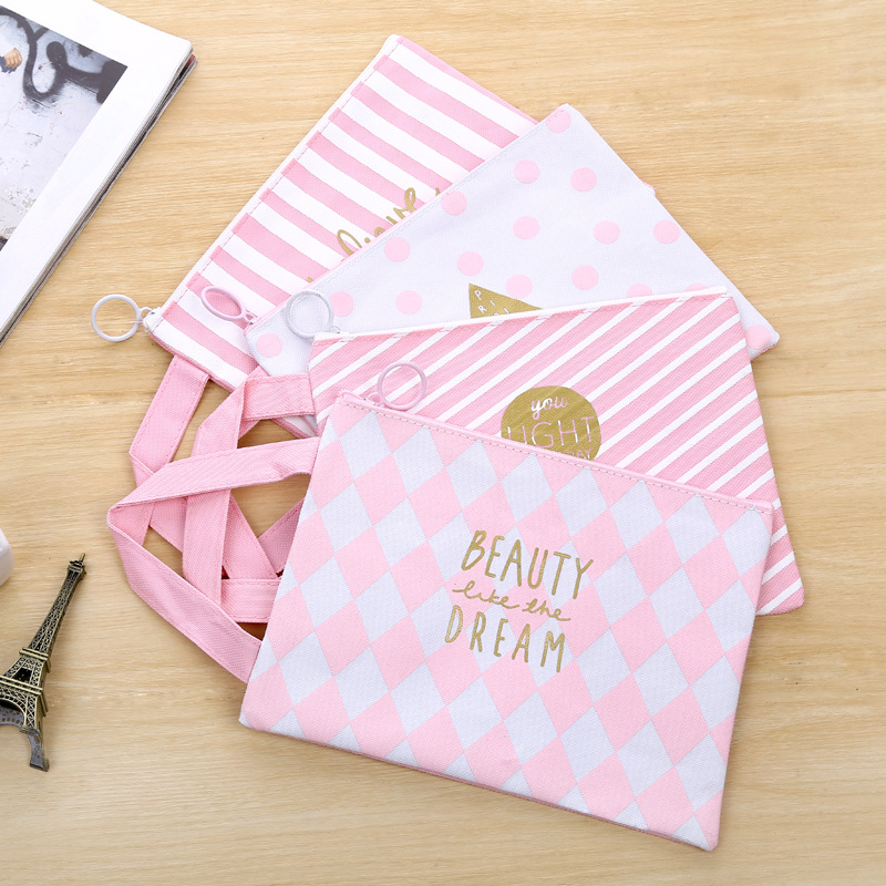 A4 Kawaii Cartoon Pink Canvas File Folder Document Filing Bag Stationery Bag Promotional Gift Stationery