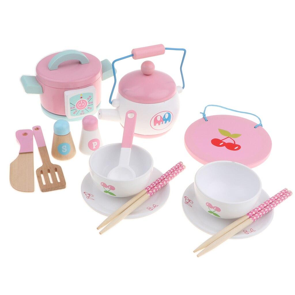Juego de simulación de 14 piezas, juguete de madera cocina, utensilios de cocina, utensilios de cocina y vajilla, cuenco para ollas para niños, juego de casa