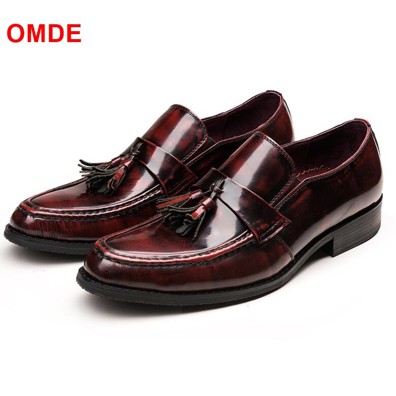 OMDE Patent Leather Loafers Men Fashion Slip-on Dress Shoes Breathable Tassel Men Driving Shoes Luxury Men's Casual Flats xx breathable men casual soft leather shoes car driving slip on flats leisure fashion tassel moccasins men loafers zapatillas