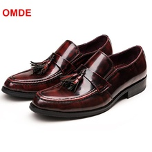 OMDE Patent Leather Loafers Men Slip-on Dress Shoes Breathable Tassel Loafer Mens Driving Casual Flats