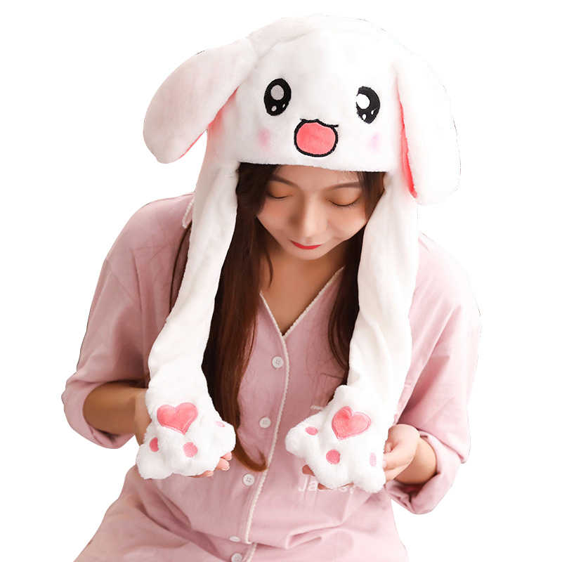 N//H Led Glowing Plush Moving Rabbit Hat Dancing Bunny Ears Pinching Ear to Move Vertically Cartoon Animal Toys Hat