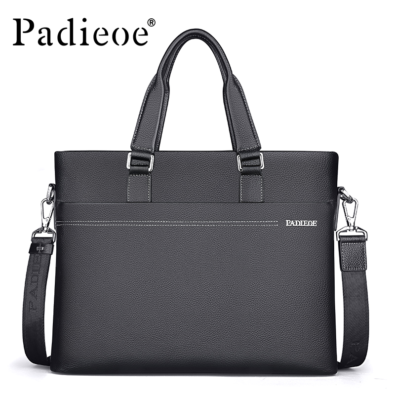 Padieoe Men's Genuine Leather Briefcase Business Cowhide Leather Men Messenger Bag Casual Shoulder Bags Durable Male Handbags