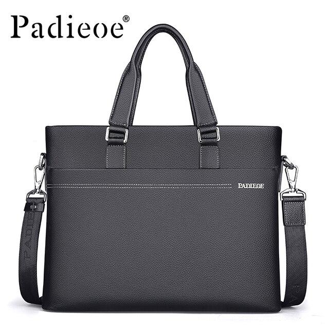 d2a2ce29d56 Padieoe mannen Lederen Aktentas Rundleer Mannen Messenger Bag Casual  Schoudertassen Duurzaam Mannelijke Handtassen