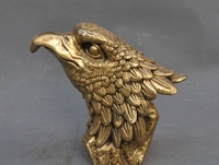 7marked chinese fengshui brass bird king Eagle Hawk head Bust statue Sculpture