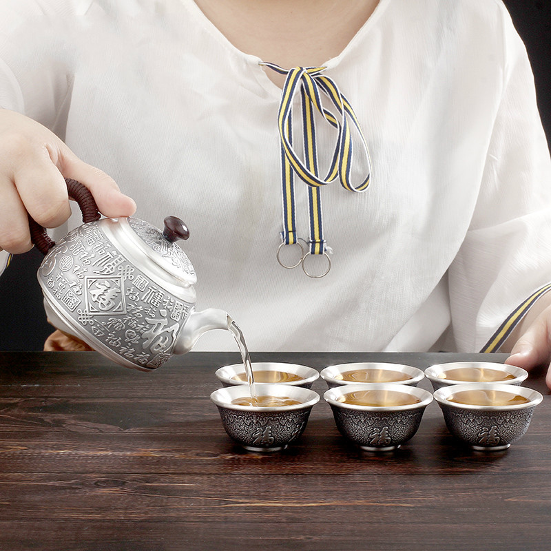 Silver Teapot Foot Silver 999 Tea Set Pure Silver Tea Cup Thermal Insulation Practical Handmade Silver Gift