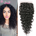 8A Peruvian Deep Wave Closure 4*4 Peruvian Virgin Hair Deep Wave Lace Closure Wet and Wavy Curly Hair Closure Weave Human Hair