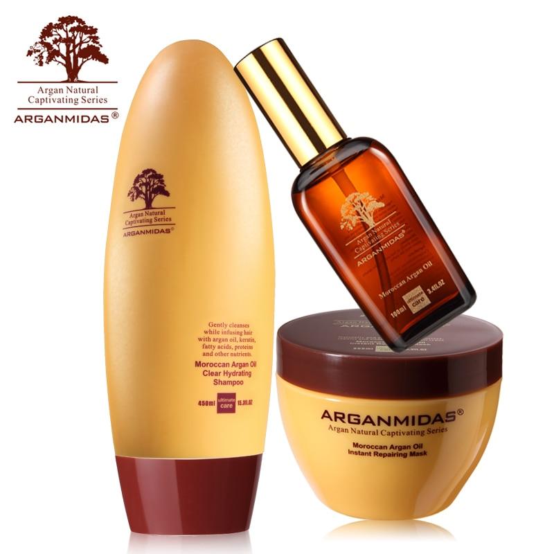 Arganmidas 3pcs Different Kinds of Argan Oil 450ml Hair Shampoo +100ml Hair Oil +300ml Hair Mask Best Hair Salon Products Free new product 500ml arganmidas fresh mini hair shampoo