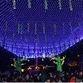 Colorido 2*2 m 144 LED Net Luz Roja de la lampara de Navidad Luces de La Boda/Decoración Del Partido Al Aire Libre LED Impermeable de la Iluminación de LA UE