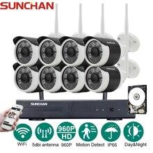 SUNCHAN 8-КАНАЛЬНЫЙ Системы ВИДЕОНАБЛЮДЕНИЯ Беспроводной 960 P NVR 8 ШТ. 1.3MP ИК открытый P2P Wi-Fi IP CCTV Камеры Безопасности Системы Видеонаблюдения Комплект w/HDD