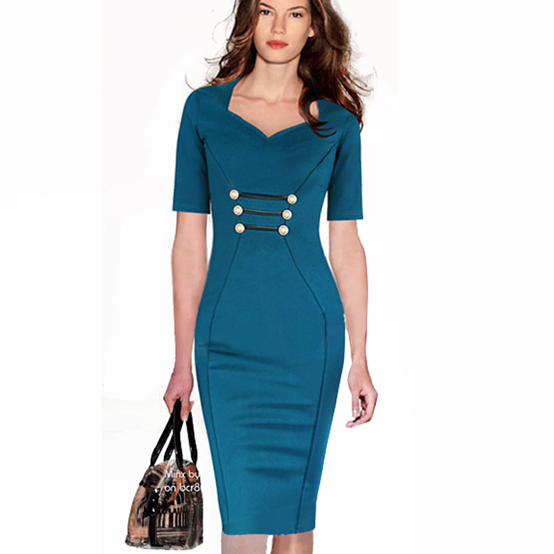 OUFANGMEIYI Store Women Vintage Work Business Dress Formal Solid Color Half Sleeve Buttons Career Stretch Tunic Fitted Bodycon Midi Dresses 897