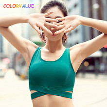 Colorvalue High Support Sports Bras Women Vest Type Quick Dry Running Jogger Bras Push Up Padded Fitness Bras Athletic Tank Tops