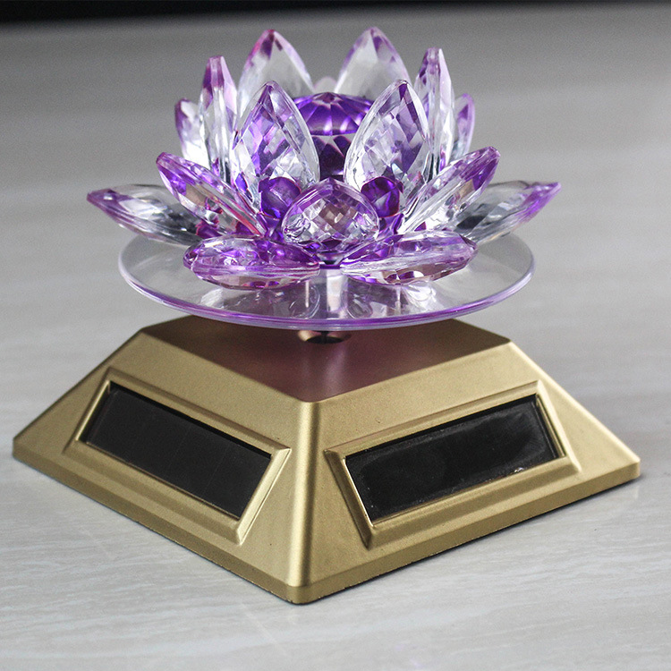 Feng Shui Crystal Glass Lotus Flower Solar Energy 360 Rotating Lotus