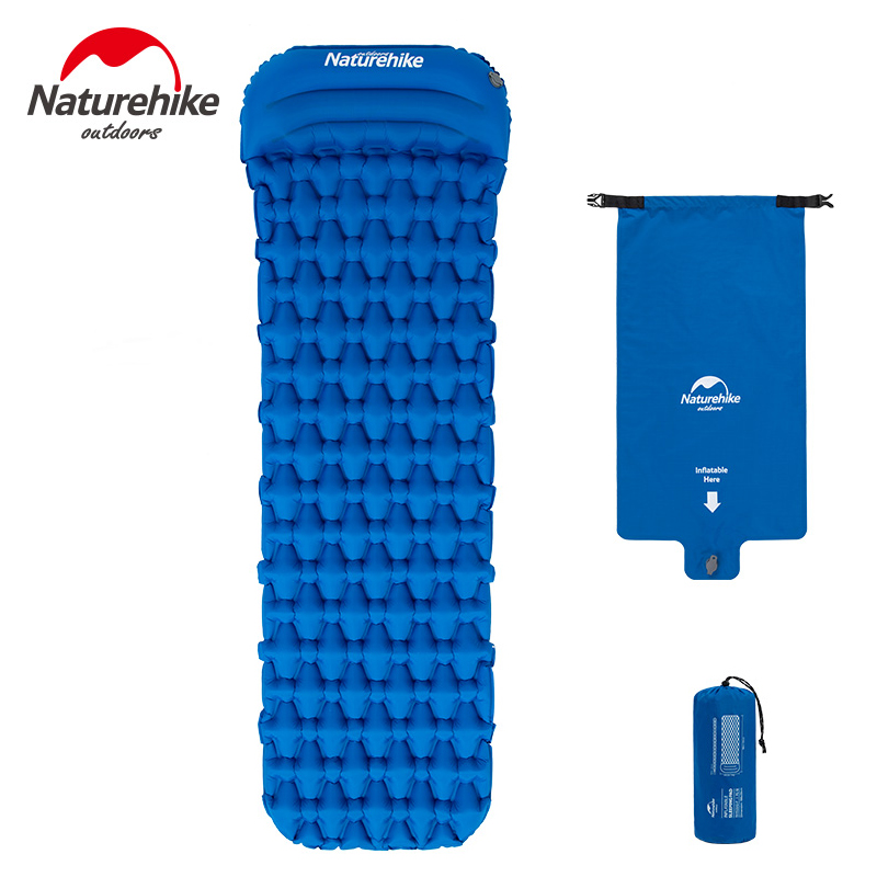 Naturehike Outdoor Camping Mat with Pillow Air Bag Sleeping Inflatable Pad Hiking Single Moisture proof Mattress-in Camping Mat from Sports & Entertainment    3