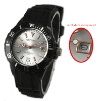 Good Taste Sporty FW893A NATURAL Brand Watch Black Silicone Band 30M Water Resistant Quartz 2015 Date