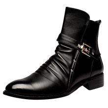 Fashion Luxury Brand Mens Leather Boots Genuine Zipper Black Joint Italian Designer Dress Ankle botas