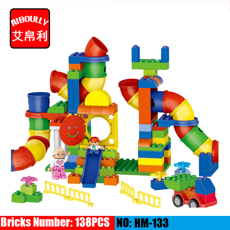 138PCS HM133 Big Size Building Blocks pipeline Playground DIY Bricks Toys Educational Large Blocks compatible duploe gorock 138pcs big blocks castle large particles war building blocks bricks compatible with educational baby city toys