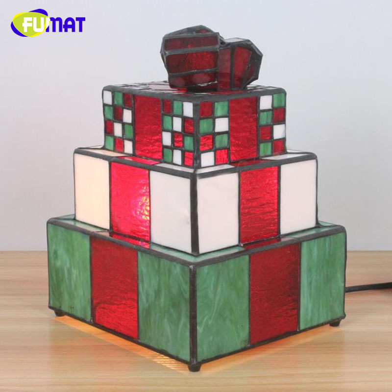 FUMAT Tifffany Lamps Red Gift box Stained Glass Lights