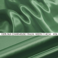 100% SILK CHARMEUSE SATIN 114cm width 19mommes Pure Mulberry Silk Fabric/China Wedding Dress Fabric Suppliers Sea Green NO 36