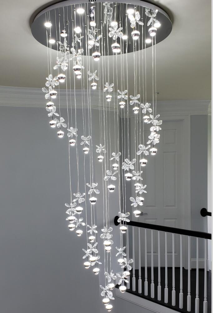 new modern chandelier LED crystal lamps long pendant chandelier lustres de cristal kronleuchter stair chandelier new modern chandelier led crystal lamps long pendant chandelier lustres de cristal kronleuchter ac110 240v stair chandelier