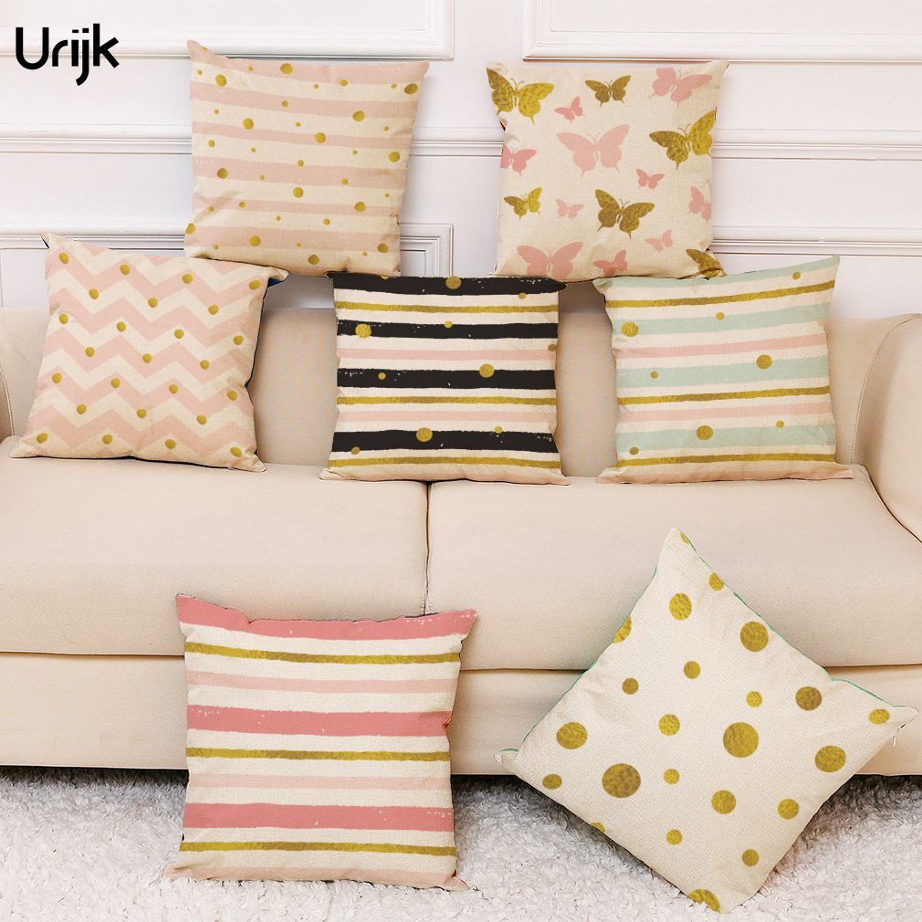 Urijk 1PC Ins Style Cushion Cover Linen Striped Dots Print Pillow Cover for Sofa Car Square Decorative Pillows for Children Home