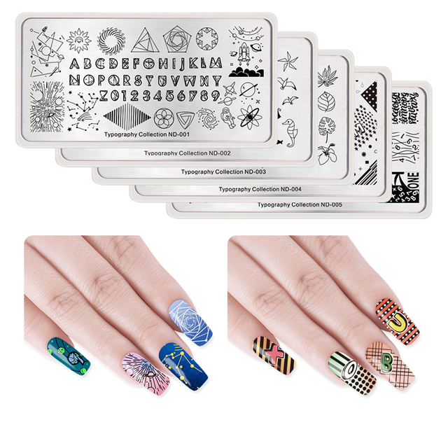 Nicole Diary Rectangle Nail Art Stamping Plate Typograhy Series Moon