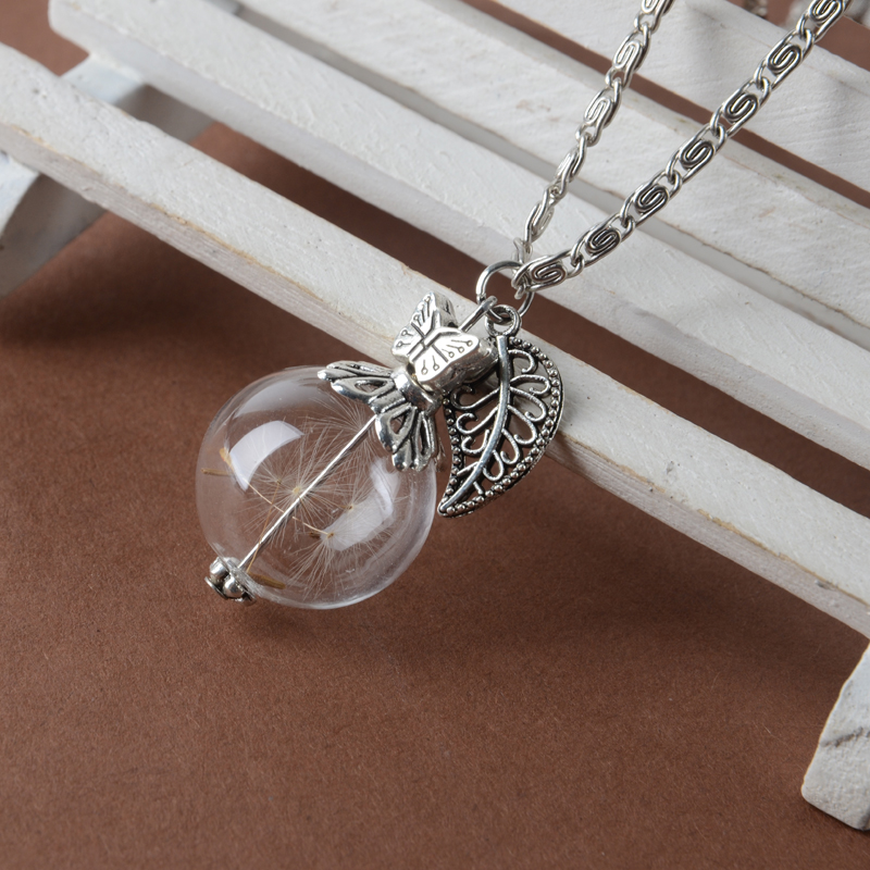 Silver Leave and butterfly Ball Vial Necklace