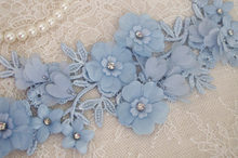 10pieces blue lace applique, 3D heavy bead applique with flowers, handmade bridal appliques