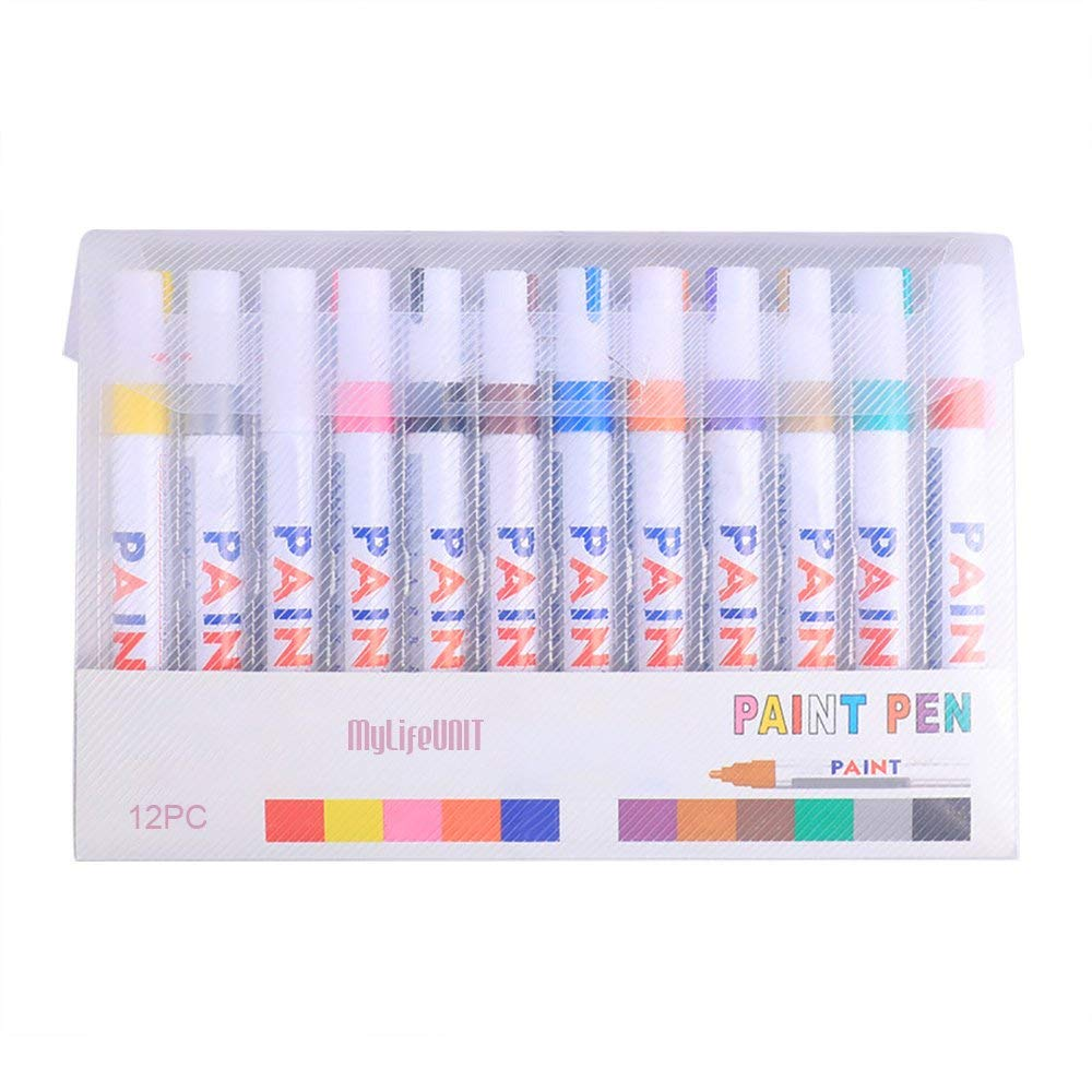 Metallic Marker Pens, Permanent Oil Based Paint Markers for Metal Rocks Glass, 12 Assorted Colors