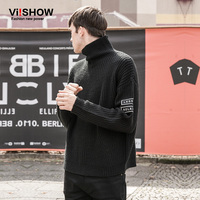 VIISHOW Turtleneck Sweater Men And Pullovers Casual Oversizes Print Sleeve Slim Mens Knitting Sweaters Christmas Sweater