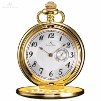 KS Classic Watch Elegant Hand Wind Vintage Gold White Dial Retro Pendant Classic Steel Mechanical Pocket