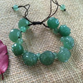 Natural Green Jade Pure Hand-made Circumference Can Be Adjusted Rose Flower  Beads Bracelets Bangles Female Jade Jewelry Present