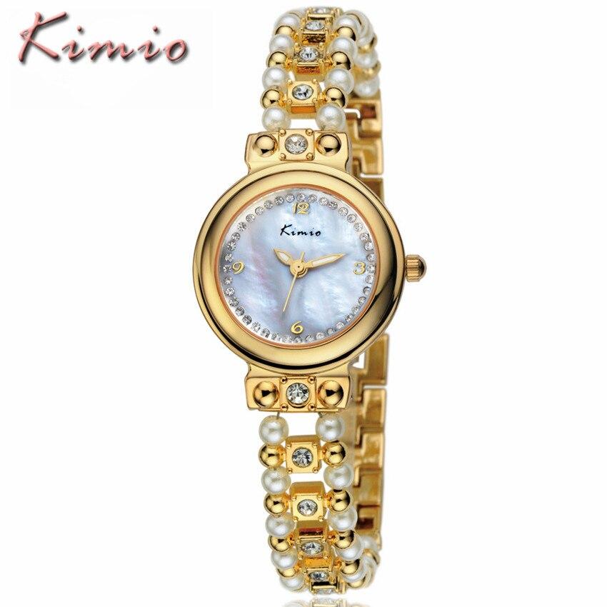 Brand KIMIO Reloj Mujer Fashion Style Women Pearl Bracelet Crystal Dial Quartz Watch Gold Women Watches Relogio Feminino Clock