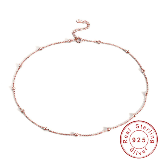 Slim Thin 925 Sterling Silver Beaded Choker Necklaces Women Girls Dainty Minimal Rose Gold Satellite Chain Neckless SN030