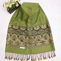 Green Chinese National Style Women Acrylic Pashmina Fashionable Scarves Traditional Floral Shawl Scarf Spring Autumn