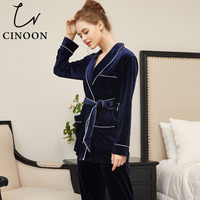 CINOON Women Pajama Sets Warm Coral Velvet Long Sleeved Pant Suit Fashion Sleepwear Bathrobe Top Homewear New Snow Clothes