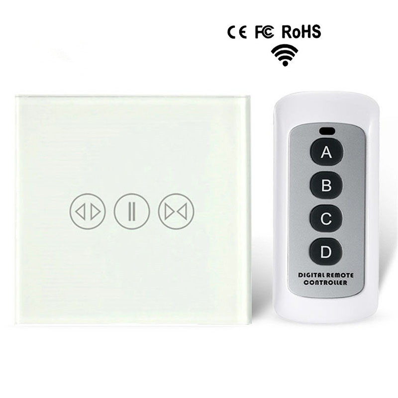 Smart Touch Curtain Switch 433 RF Wireless Remote Control Electric Curtain Motor Control Switch Tempered Glass